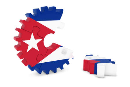 cuban flag: Cuban Flag Gear Puzzle with Piece on Floor 3D Illustration Stock Photo