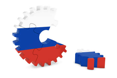 russian flag: Russian Flag Gear Puzzle with Piece on Floor 3D Illustration