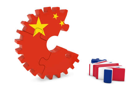 relations: China and United Kingdom Relations Concept 3D Cog Flag Puzzle Illustration Stock Photo