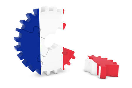 french flag: French Flag Gear Puzzle with Piece on Floor 3D Illustration