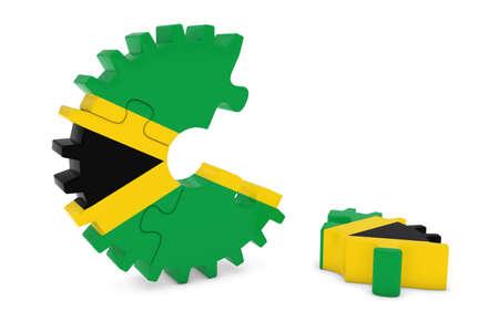 jamaican flag: Jamaican Flag Gear Puzzle with Piece on Floor 3D Illustration Stock Photo