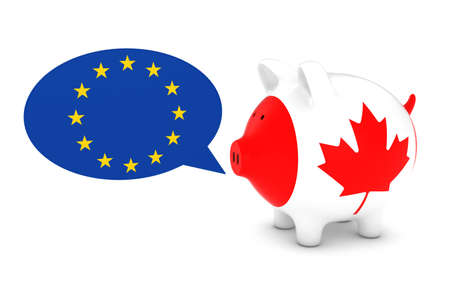 canadian flag: Canadian Flag Piggy Bank with EU Speech Bubble 3D Illustration Stock Photo