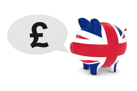 uk flag: UK Flag Piggy Bank with Pound Symbol Speech Bubble 3D Illustration
