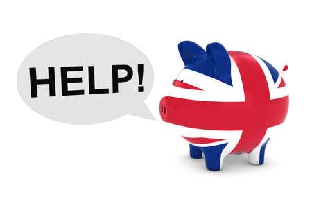 bandera reino unido: Reino Unido Bandera hucha con la ayuda Globo de texto Ilustraci�n 3D Foto de archivo