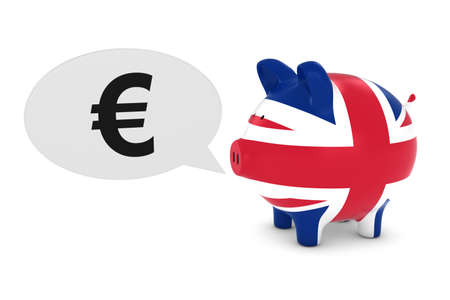 uk flag: EU Investment Concept - UK Flag Piggy Bank with Euro Symbol Speech Bubble 3D Illustration Foto de archivo