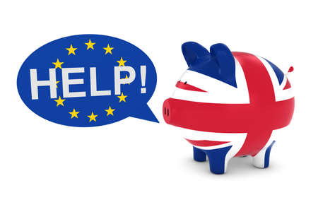 uk flag: UK Flag Piggy Bank with EU Help Speech Bubble 3D Illustration