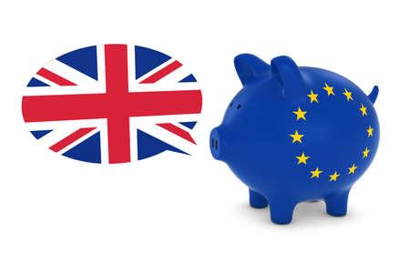 eu flag: EU Flag Piggy Bank with UK Speech Bubble 3D Illustration
