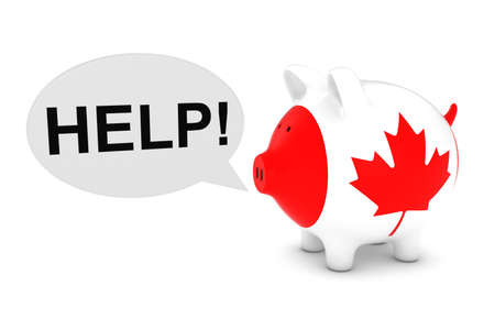 canadian flag: Canadian Flag Piggy Bank with Help Speech Bubble 3D Illustration Stock Photo