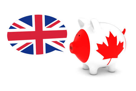 canadian flag: Canadian Flag Piggy Bank with UK Speech Bubble 3D Illustration