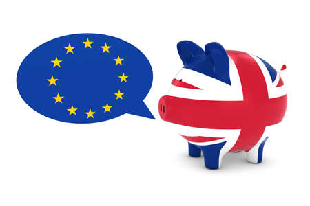 uk flag: UK Flag Piggy Bank with EU Speech Bubble 3D Illustration