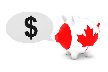 canadian coin: Canadian Flag Piggy Bank with Dollar Symbol Speech Bubble 3D Illustration Stock Photo