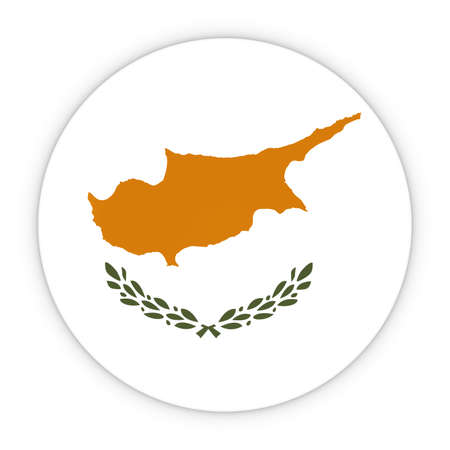 cypriot: Cypriot Flag Button - Flag of Cyprus Badge 3D Illustration