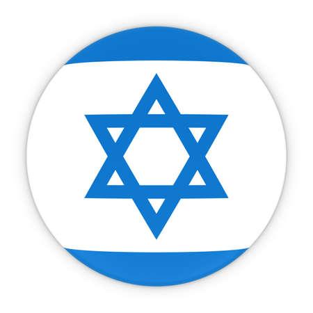 israeli flag: Israeli Flag Button - Flag of Israel Badge 3D Illustration