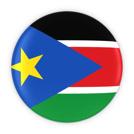 south sudan: South Sudanese Flag Button - Flag of South Sudan Badge 3D Illustration Stock Photo