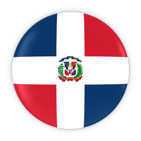 dominican: Dominican Flag Button - Flag of the Dominican Republic Badge 3D Illustration