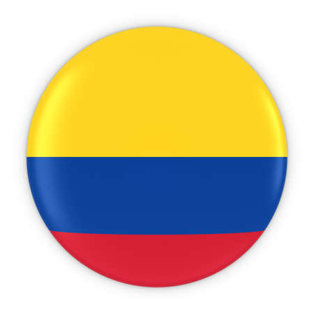 colombian flag: Colombian Flag Button - Flag of Colombia Badge 3D Illustration