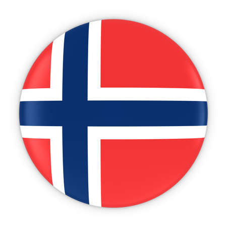 norwegian flag: Norwegian Flag Button - Flag of Norway Badge 3D Illustration