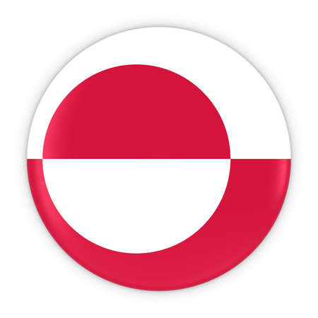 greenlandic: Greenlandic Flag Button - Flag of Greenland Badge 3D Illustration Stock Photo