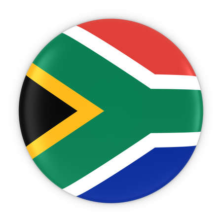 south african flag: South African Flag Button - Flag of South Africa Badge 3D Illustration Stock Photo