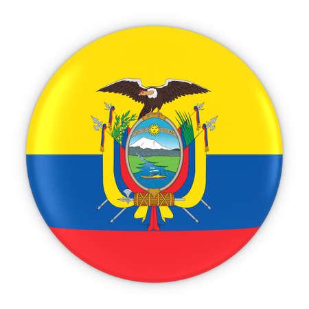 ecuadorian: Ecuadorian Flag Button - Flag of Ecuador Badge 3D Illustration Stock Photo