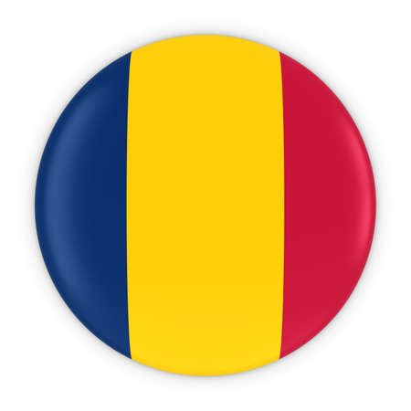 chadian: Chadian Flag Button - Flag of Chad Badge 3D Illustration