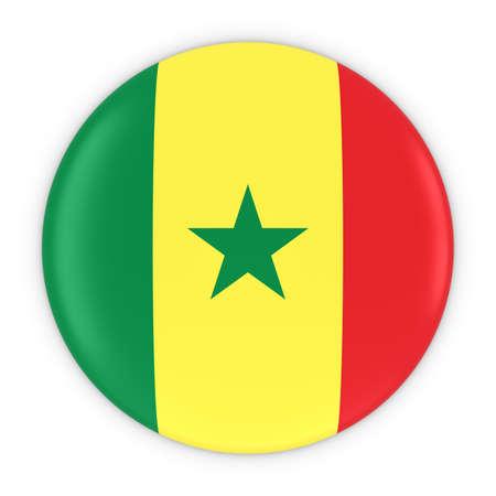 senegalese: Senegalese Flag Button - Flag of Senegal Badge 3D Illustration