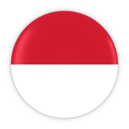 the indonesian flag: Monegasque  Indonesian Flag Button - Flag of Monaco  Indonesia Badge 3D Illustration Stock Photo