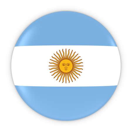 argentinian: Argentinian Flag Button - Flag of Argentina Badge 3D Illustration