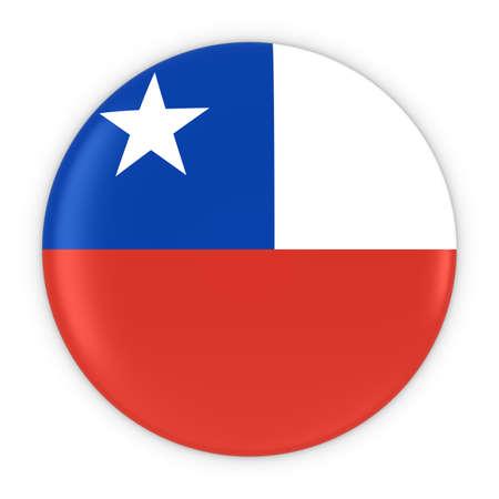 bandera chilena: Botón de la bandera de Chile - Bandera de Chile Ilustración de la insignia 3D Foto de archivo