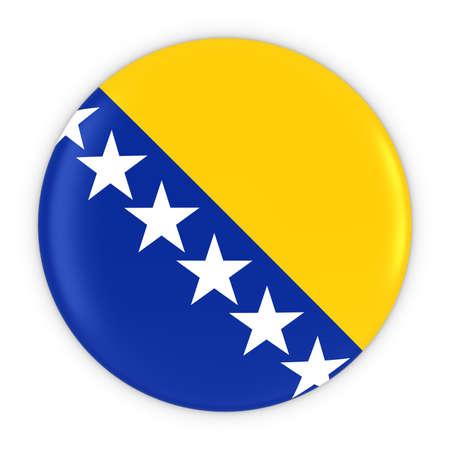 bosnia and herzegovina flag: Bosnian and Herzegovinian Flag Button - Flag of Bosnia Herzegovina Badge 3D Illustration