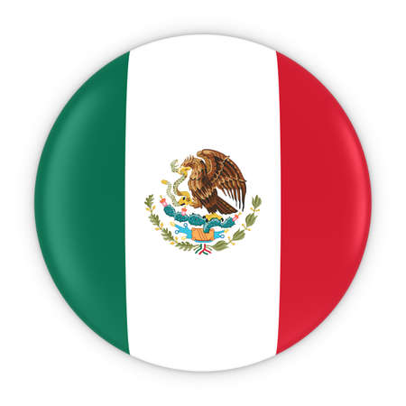 Mexican Flag Button - Flag of Mexico Badge 3D Illustration Imagens