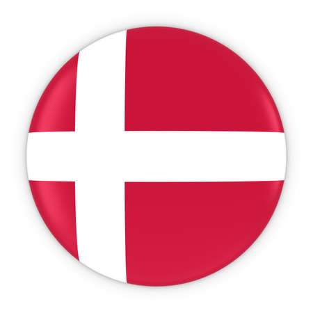 danish flag: Danish Flag Button - Flag of Denmark Badge 3D Illustration