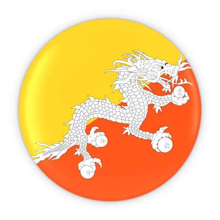 bhutan: Bhutanese Flag Button - Flag of Bhutan Badge 3D Illustration Stock Photo