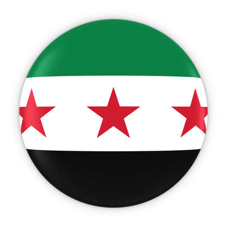 syrian: Syrian Opposition Flag Button - Flag of Syria Badge 3D Illustration Stock Photo