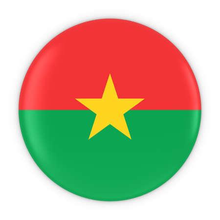 burkina faso: Burkinabe Flag Button - Flag of Burkina Faso Badge 3D Illustration Stock Photo