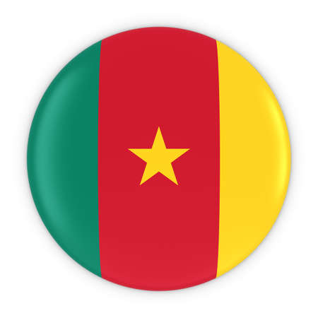 cameroon: Cameroonian Flag Button - Flag of Cameroon Badge 3D Illustration