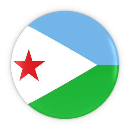 three dimensional shape: Djiboutian Flag Button - Flag of Djibouti Badge 3D Illustration