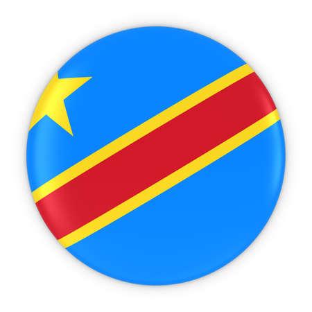 dr: Congolese Flag Button - Flag of DR Congo Badge 3D Illustration