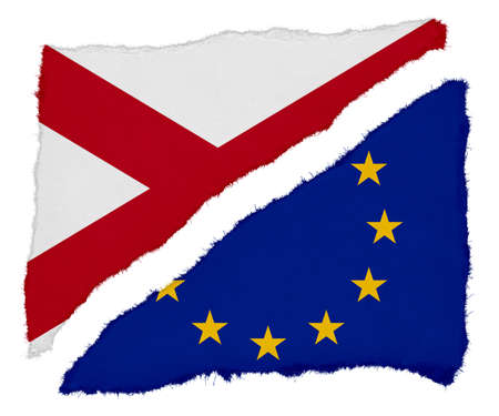 eu flag: Northern Ireland and EU Flag Torn Paper Scraps Isolated on White Background