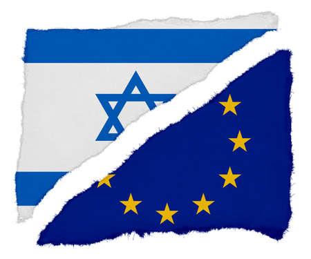 eu flag: Israeli and EU Flag Torn Paper Scraps Isolated on White Background
