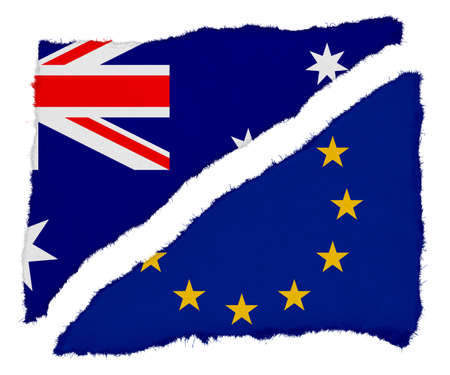 scraps: Australian and EU Flag Torn Paper Scraps Isolated on White Background