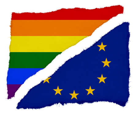 scraps: Gay Pride and EU Flag Torn Paper Scraps Isolated on White Background