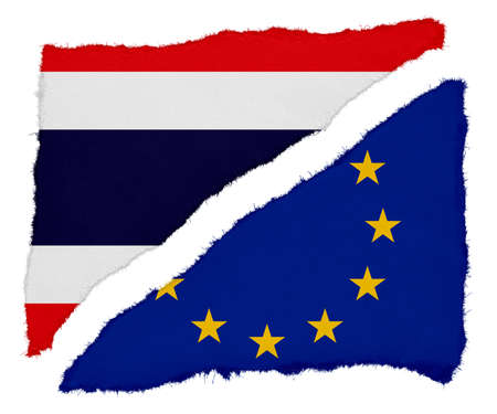 scraps: Thai and EU Flag Torn Paper Scraps Isolated on White Background Stock Photo