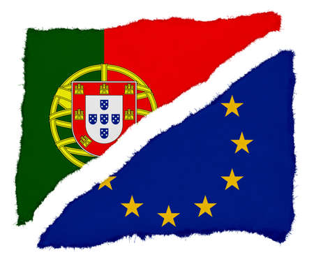scraps: Portuguese and EU Flag Torn Paper Scraps Isolated on White Background