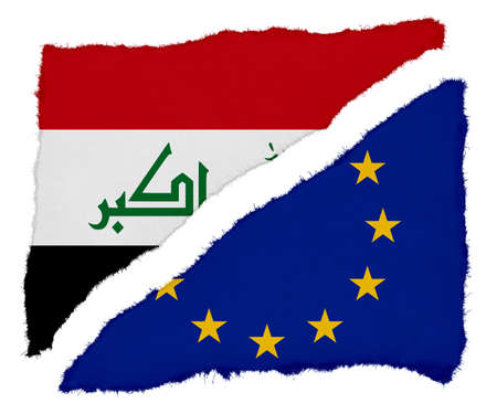 scraps: Iraqi and EU Flag Torn Paper Scraps Isolated on White Background Stock Photo