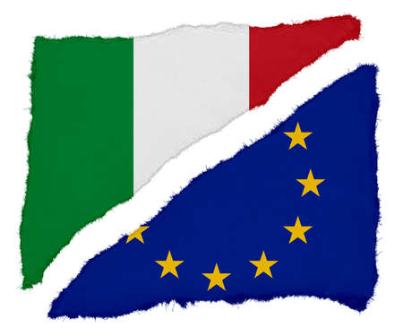 scraps: Italian and EU Flag Torn Paper Scraps Isolated on White Background