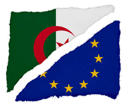 algerian flag: Algerian and EU Flag Torn Paper Scraps Isolated on White Background Stock Photo