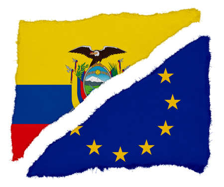eu flag: Ecuadorian and EU Flag Torn Paper Scraps Isolated on White Background
