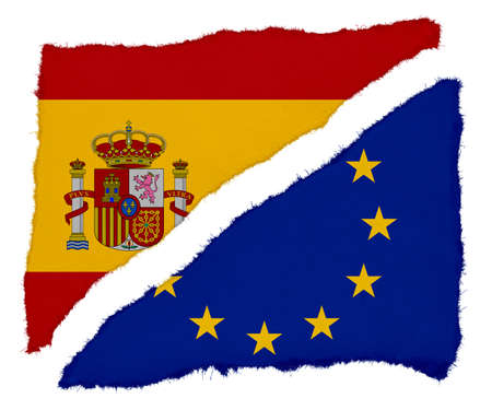 scraps: Spanish and EU Flag Torn Paper Scraps Isolated on White Background Stock Photo