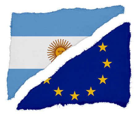 argentinian: Argentinian and EU Flag Torn Paper Scraps Isolated on White Background